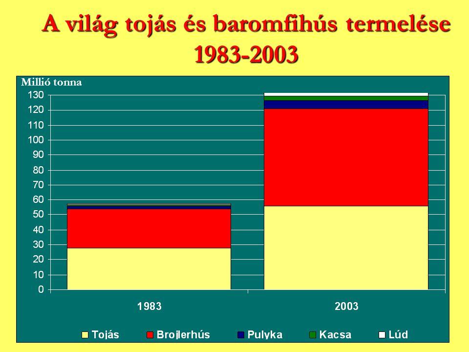 A világ tojás és baromfihús termelése 1983-2003 Millió tonna
