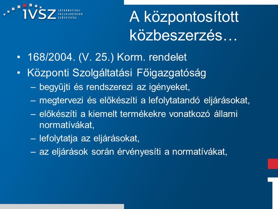 A központosított közbeszerzés… 168/2004. (V. 25.) Korm. rendelet Központi Szolgáltatási Főigazgatóság –begyűjti és rendszerezi az igényeket, –megterve