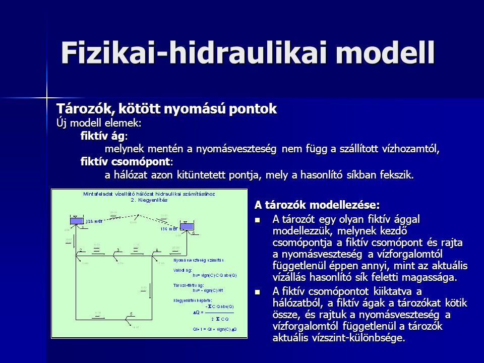 Fizikai-hidraulikai modell A tározók modellezése: A tározót egy olyan fiktív ággal modellezzük, melynek kezdő csomópontja a fiktív csomópont és rajta