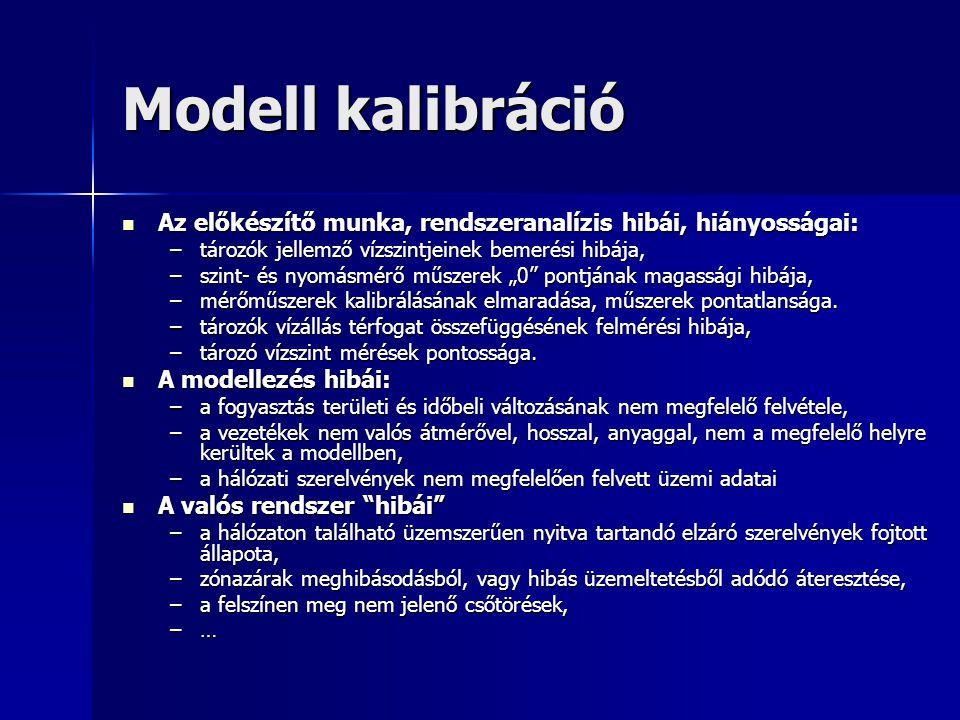 Modell kalibráció Az előkészítő munka, rendszeranalízis hibái, hiányosságai: Az előkészítő munka, rendszeranalízis hibái, hiányosságai: –tározók jelle