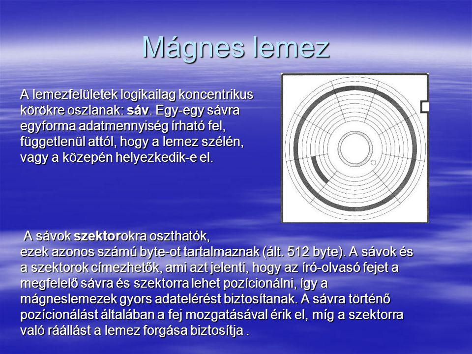 Mágnes lemez A lemezfelületek logikailag koncentrikus körökre oszlanak: sáv.