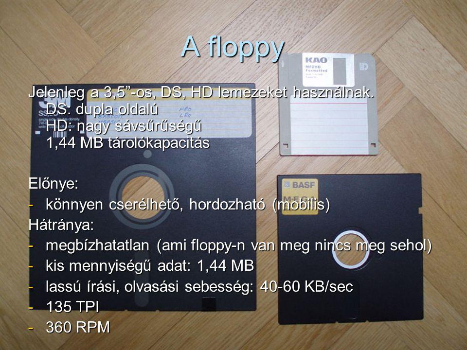 A floppy Jelenleg a 3,5 -os, DS, HD lemezeket használnak.