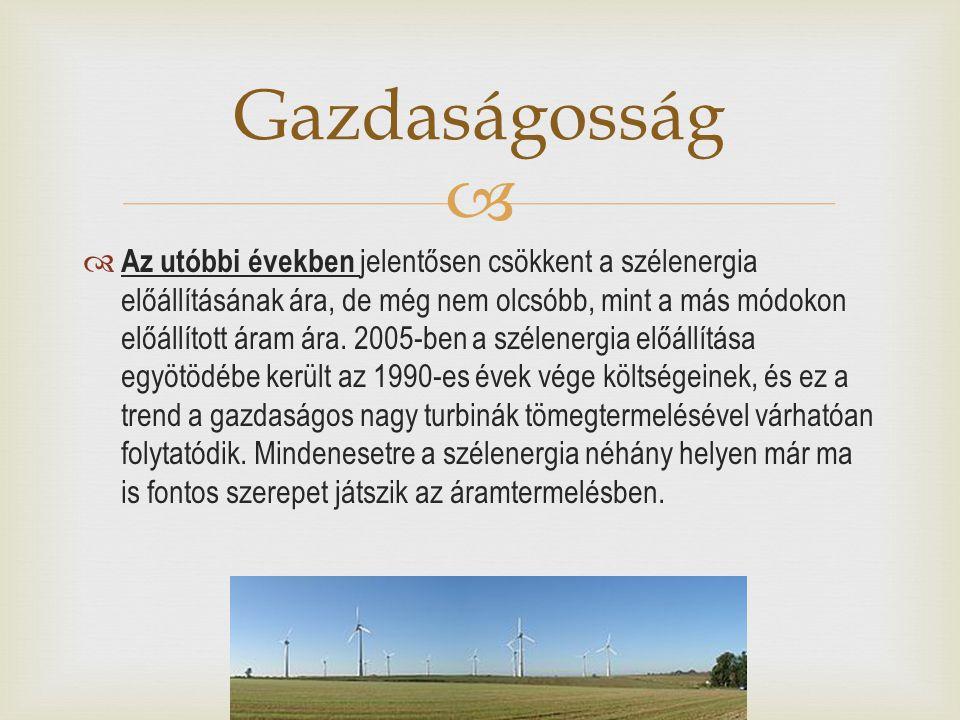   Az utóbbi években jelentősen csökkent a szélenergia előállításának ára, de még nem olcsóbb, mint a más módokon előállított áram ára. 2005-ben a sz