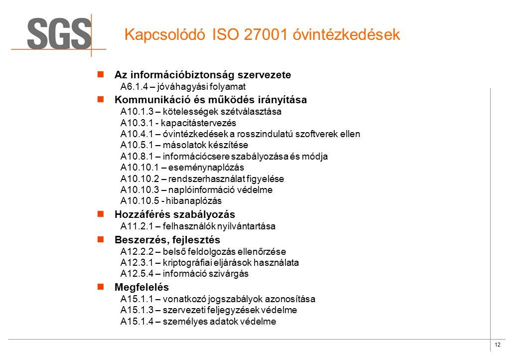12 Kapcsolódó ISO 27001 óvintézkedések Az információbiztonság szervezete A6.1.4 – jóváhagyási folyamat Kommunikáció és működés irányítása A10.1.3 – kö