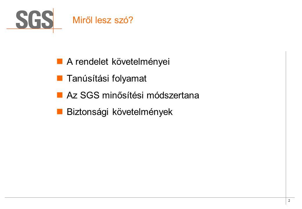 2 Miről lesz szó? A rendelet követelményei Tanúsítási folyamat Az SGS minősítési módszertana Biztonsági követelmények
