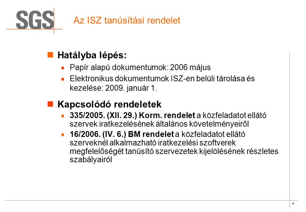 4 Az ISZ tanúsítási rendelet Hatályba lépés:  Papír alapú dokumentumok: 2006 május  Elektronikus dokumentumok ISZ-en belüli tárolása és kezelése: 20