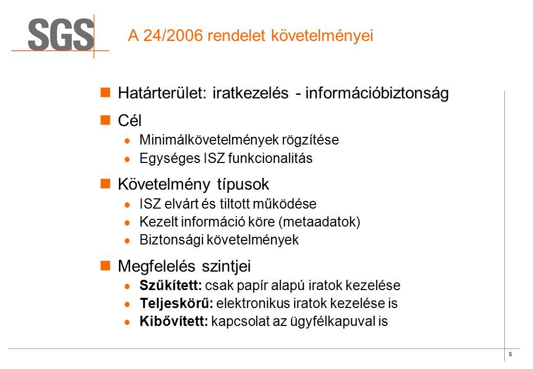 5 A 24/2006 rendelet követelményei Határterület: iratkezelés - információbiztonság Cél  Minimálkövetelmények rögzítése  Egységes ISZ funkcionalitás