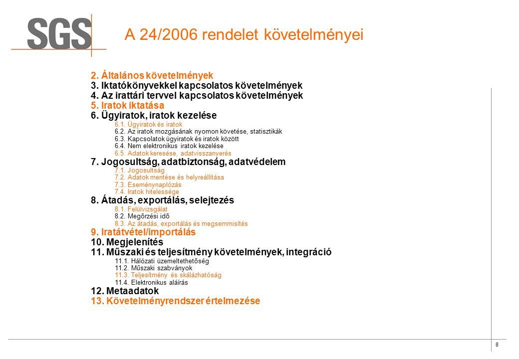 8 A 24/2006 rendelet követelményei 2. Általános követelmények 3. Iktatókönyvekkel kapcsolatos követelmények 4. Az irattári tervvel kapcsolatos követel
