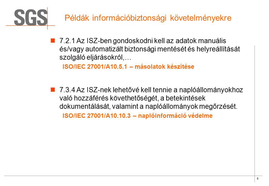 9 Példák információbiztonsági követelményekre 7.2.1 Az ISZ-ben gondoskodni kell az adatok manuális és/vagy automatizált biztonsági mentését és helyreá