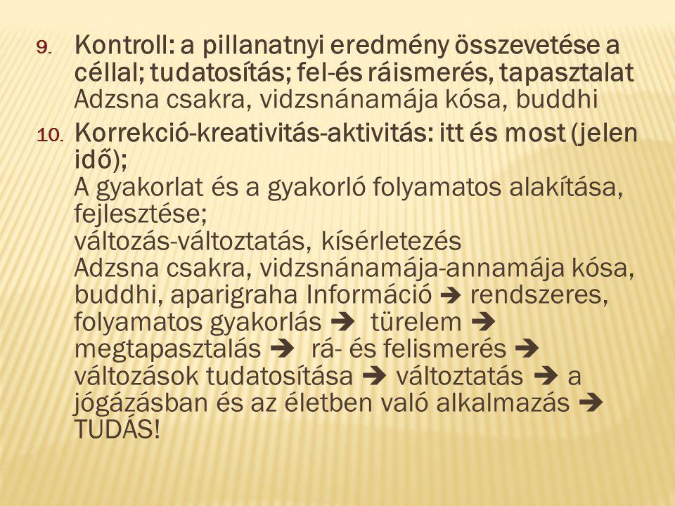 9. Kontroll: a pillanatnyi eredmény összevetése a céllal; tudatosítás; fel-és ráismerés, tapasztalat Adzsna csakra, vidzsnánamája kósa, buddhi 10. Kor