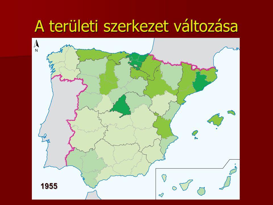 A területi szerkezet változása 1955
