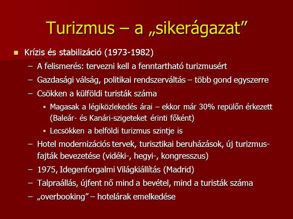 """Turizmus – a """"sikerágazat"""" Krízis és stabilizáció (1973-1982) Krízis és stabilizáció (1973-1982) –A felismerés: tervezni kell a fenntartható turizmusé"""