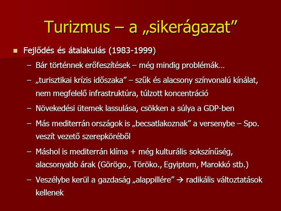 """Turizmus – a """"sikerágazat"""" Fejlődés és átalakulás (1983-1999) Fejlődés és átalakulás (1983-1999) –Bár történnek erőfeszítések – még mindig problémák…"""