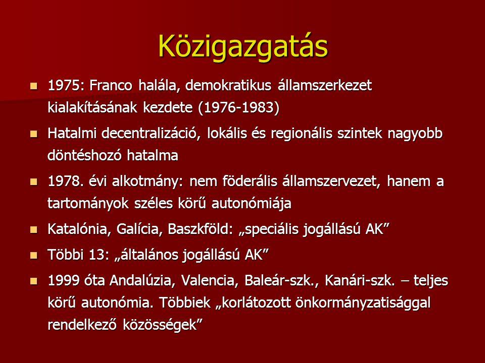 Közigazgatás 1975: Franco halála, demokratikus államszerkezet kialakításának kezdete (1976-1983) 1975: Franco halála, demokratikus államszerkezet kial