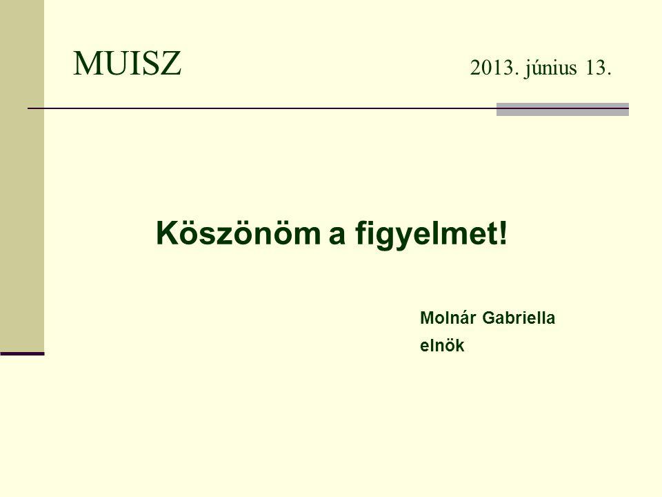 MUISZ 2013. június 13. Köszönöm a figyelmet! Molnár Gabriella elnök