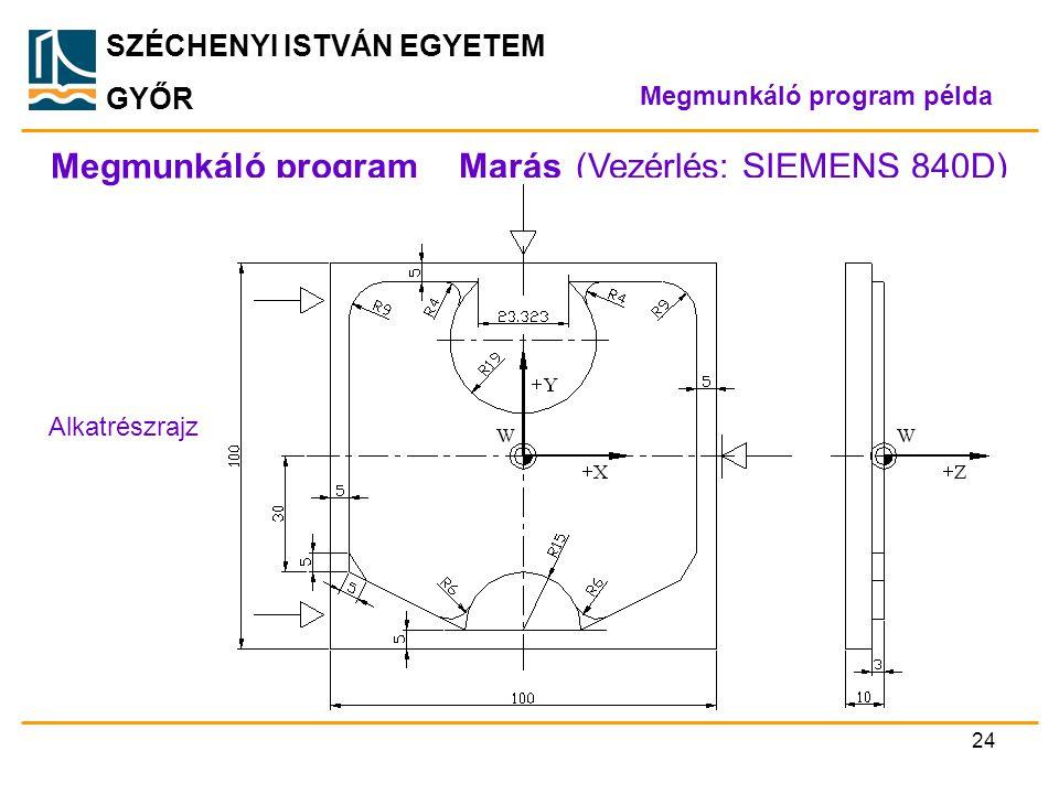 SZÉCHENYI ISTVÁN EGYETEM GYŐR Megmunkáló program _ Marás (Vezérlés: SIEMENS 840D) Alkatrészrajz Megmunkáló program példa 24