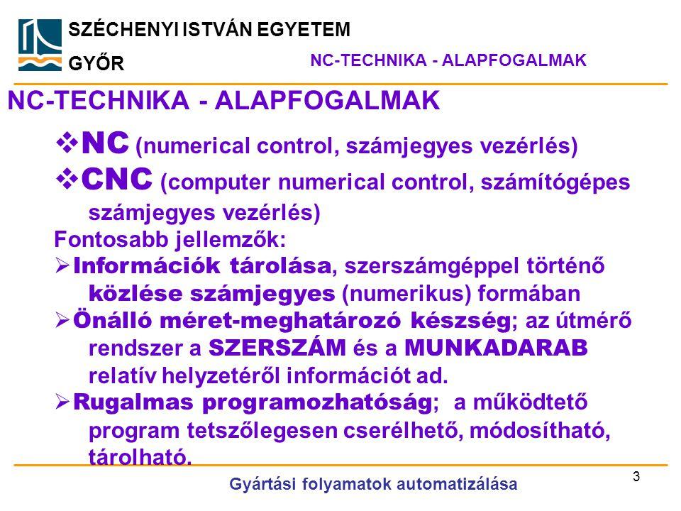 SZÉCHENYI ISTVÁN EGYETEM GYŐR NC-TECHNIKA - ALAPFOGALMAK  NC (numerical control, számjegyes vezérlés)  CNC (computer numerical control, számítógépes