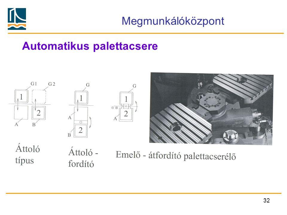 32 Megmunkálóközpont Automatikus palettacsere