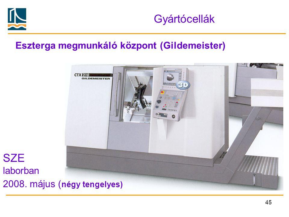 45 Gyártócellák Eszterga megmunkáló központ (Gildemeister) SZE laborban 2008. május ( négy tengelyes)