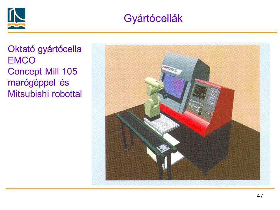 47 Gyártócellák Oktató gyártócella EMCO Concept Mill 105 marógéppel és Mitsubishi robottal