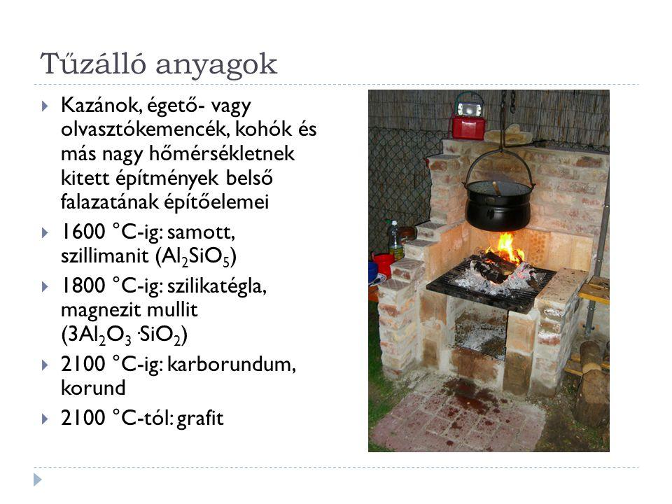 Tűzálló anyagok  Kazánok, égető- vagy olvasztókemencék, kohók és más nagy hőmérsékletnek kitett építmények belső falazatának építőelemei  1600 °C-ig: samott, szillimanit (Al 2 SiO 5 )  1800 °C-ig: szilikatégla, magnezit mullit (3Al 2 O 3 ·SiO 2 )  2100 °C-ig: karborundum, korund  2100 °C-tól: grafit