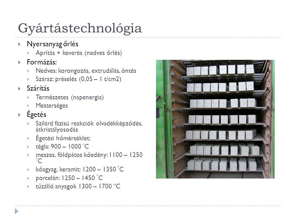 Gyártástechnológia  Nyersanyag őrlés  Aprítás + keverés (nedves őrlés)  Formázás:  Nedves: korongozás, extrudálás, öntés  Száraz: préselés (0,05 – 1 t/cm2)  Szárítás  Természetes (napenergia)  Mesterséges  Égetés  Szilárd fázisú reakciók olvadékképződés, átkristályosodás  Égetési hőmérséklet:  tégla: 900 – 1000 ° C  meszes, földpátos kőedény: 1100 – 1250 ° C  kőagyag, keramit: 1200 – 1350 ° C  porcelán: 1250 – 1450 ° C  tűzálló anyagok 1300 – 1700 °C