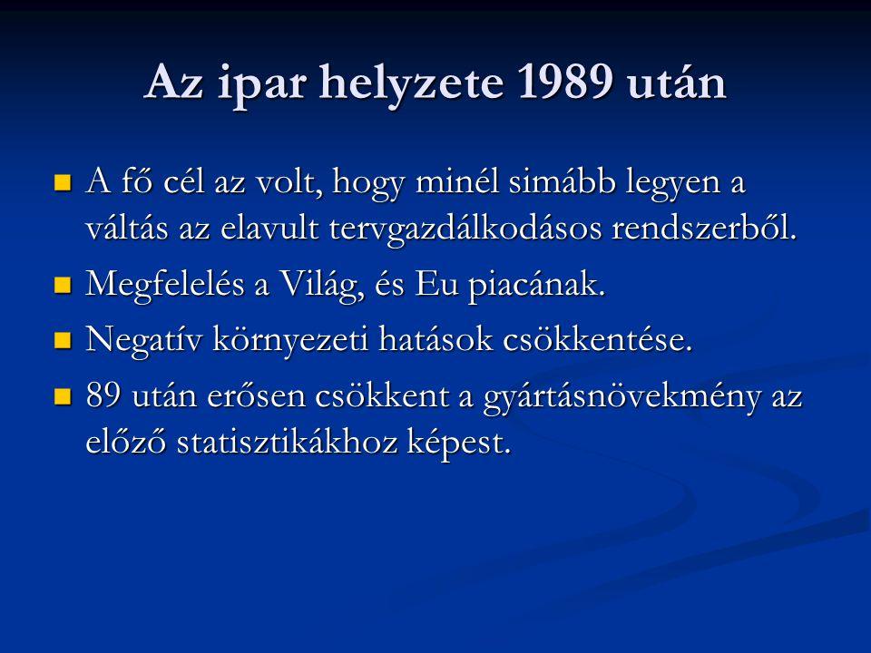Az ipar helyzete 1989 után A fő cél az volt, hogy minél simább legyen a váltás az elavult tervgazdálkodásos rendszerből. A fő cél az volt, hogy minél