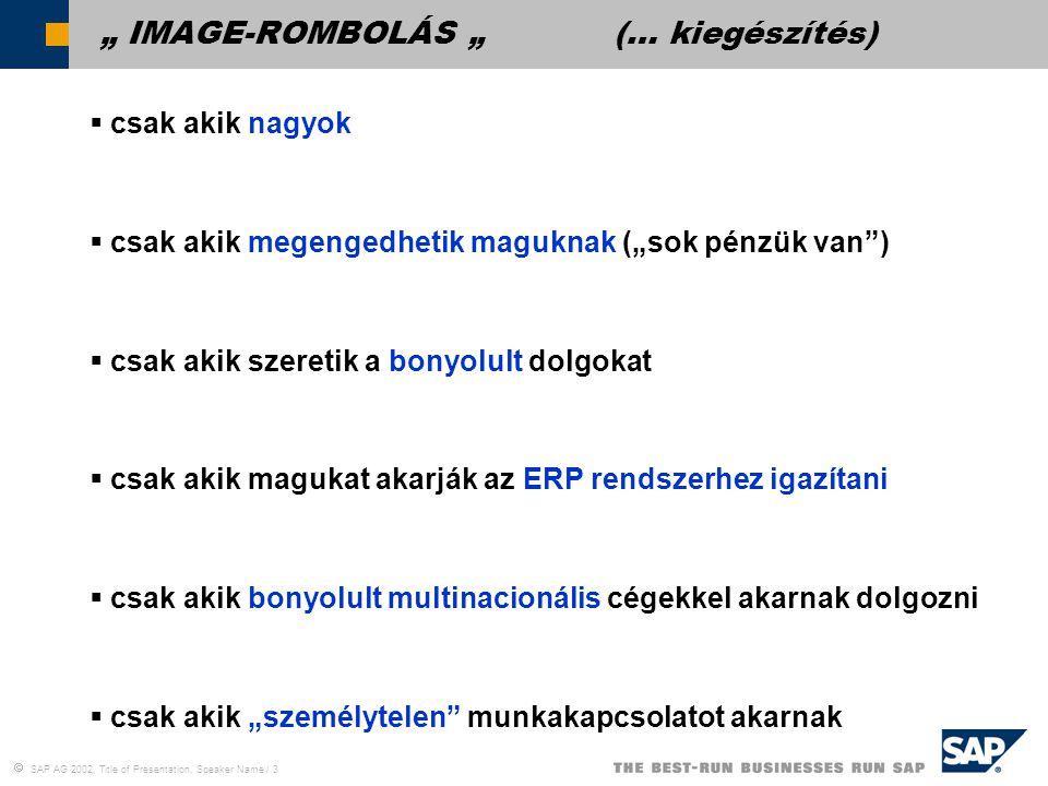  SAP AG 2002, Title of Presentation, Speaker Name / 14 Miért most?
