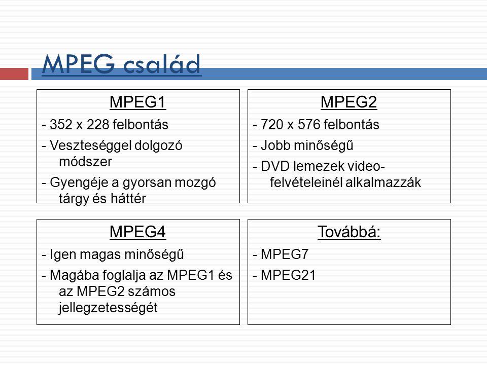 MPEG család MPEG1 - 352 x 228 felbontás - Veszteséggel dolgozó módszer - Gyengéje a gyorsan mozgó tárgy és háttér MPEG2 - 720 x 576 felbontás - Jobb m