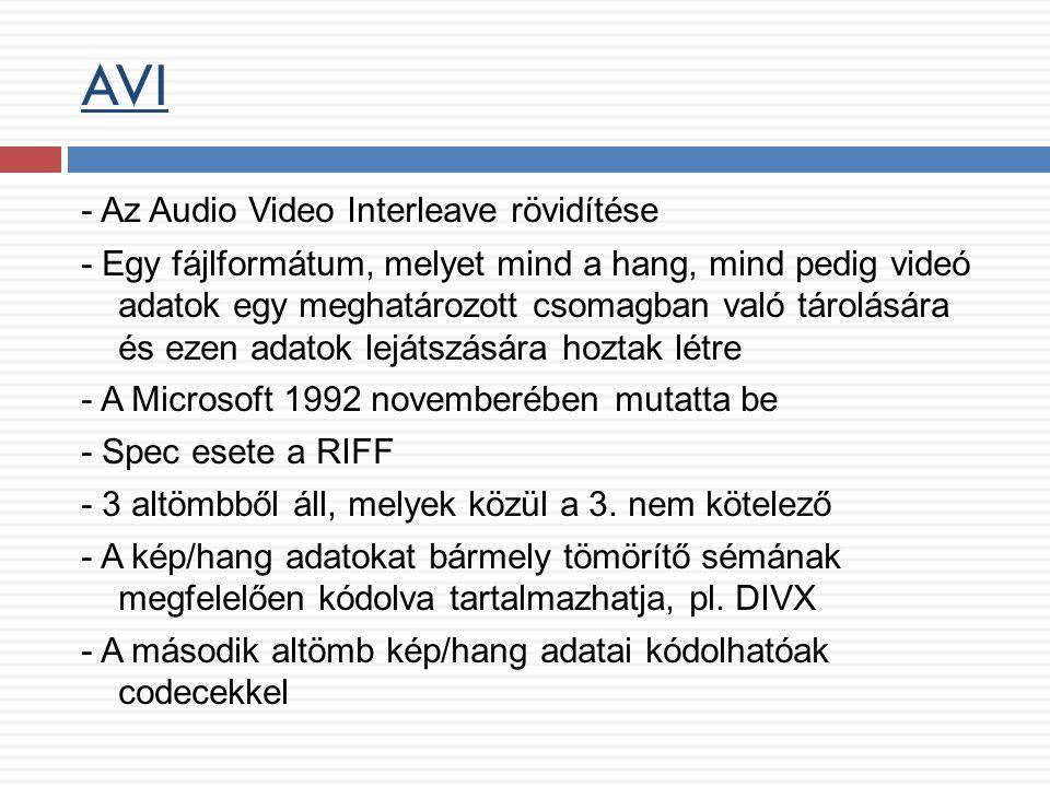 AVI - Az Audio Video Interleave rövidítése - Egy fájlformátum, melyet mind a hang, mind pedig videó adatok egy meghatározott csomagban való tárolására