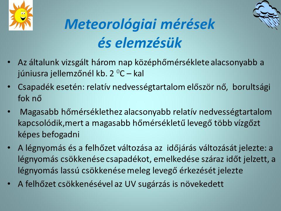 Meteorológiai mérések és elemzésük Az általunk vizsgált három nap középhőmérséklete alacsonyabb a júniusra jellemzőnél kb. 2 0 C – kal Csapadék esetén