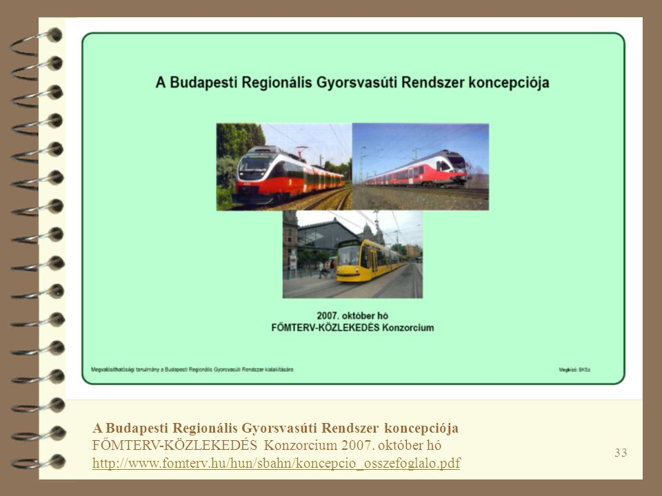 33 A Budapesti Regionális Gyorsvasúti Rendszer koncepciója FŐMTERV-KÖZLEKEDÉS Konzorcium 2007.