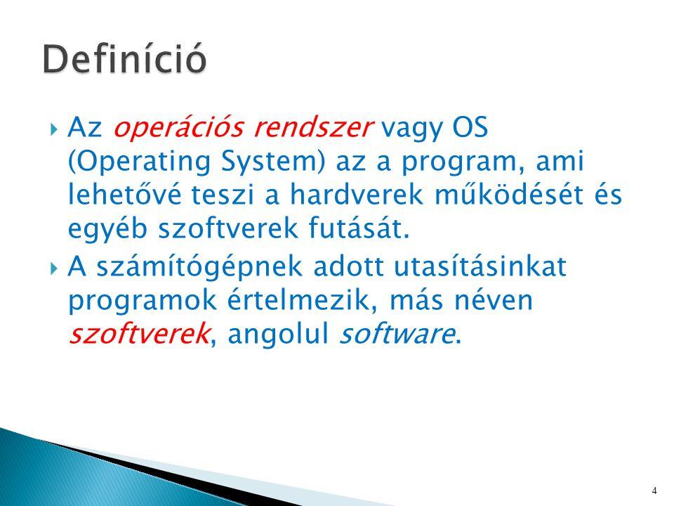  Az operációs rendszer vagy OS (Operating System) az a program, ami lehetővé teszi a hardverek működését és egyéb szoftverek futását.
