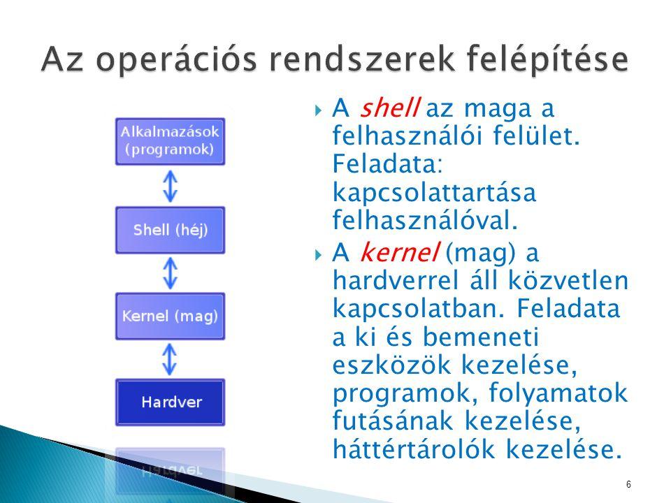  A shell az maga a felhasználói felület. Feladata: kapcsolattartása felhasználóval.