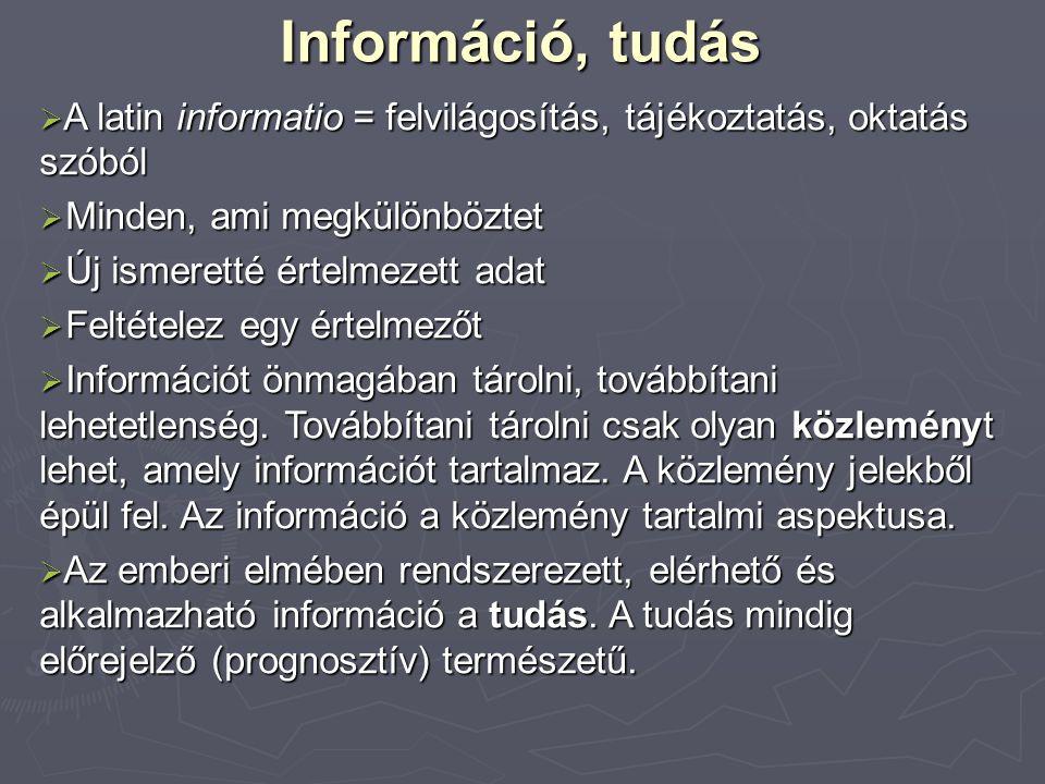 Információ, tudás  A latin informatio = felvilágosítás, tájékoztatás, oktatás szóból  Minden, ami megkülönböztet  Új ismeretté értelmezett adat  Feltételez egy értelmezőt  Információt önmagában tárolni, továbbítani lehetetlenség.