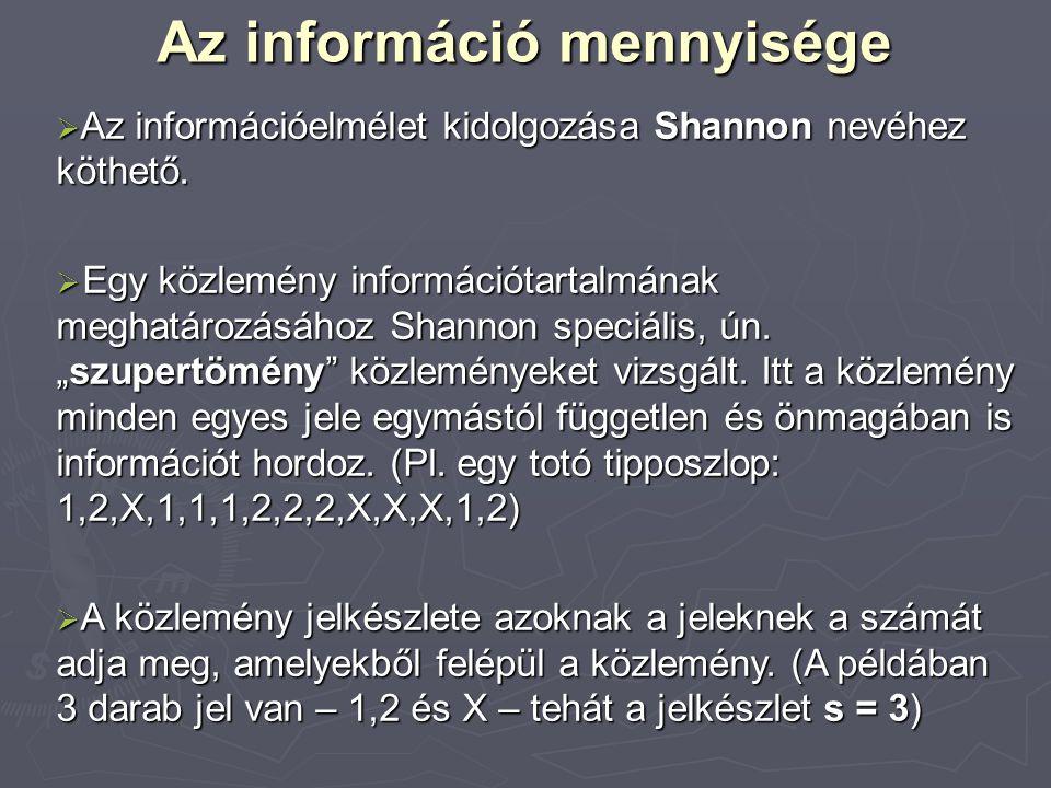 A jelkészlet összinformációmennyisége  Egyetlen jellel annyi darab különböző közlemény alkotható, amennyi a jelkészlet elemeinek a száma.