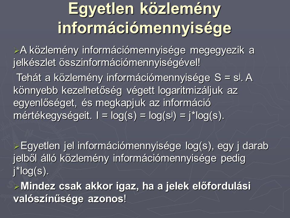 Egyetlen közlemény információmennyisége  A közlemény információmennyisége megegyezik a jelkészlet összinformációmennyiségével.