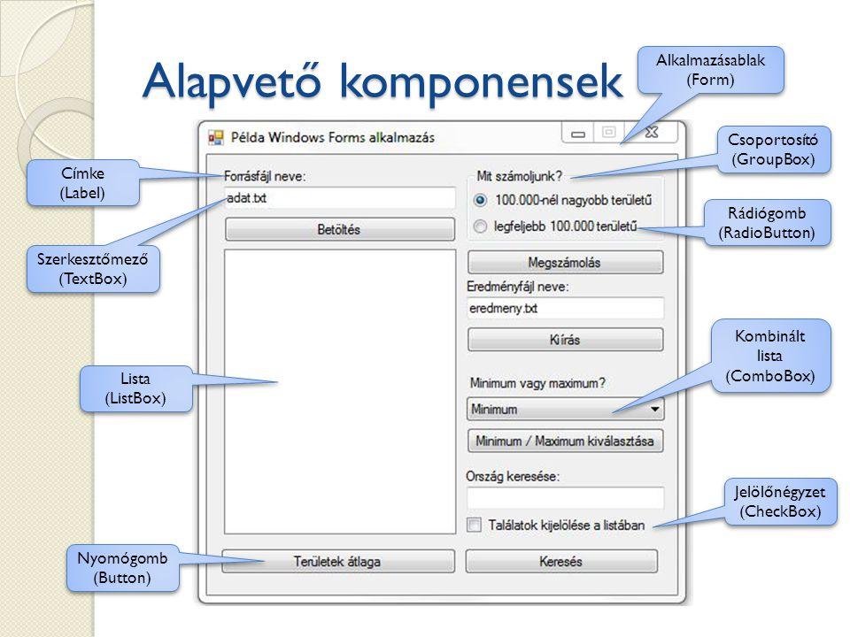 Alapvető komponensek Nyomógomb (Button) Lista (ListBox) Szerkesztőmező (TextBox) Címke (Label) Alkalmazásablak (Form) Csoportosító (GroupBox) Rádiógom