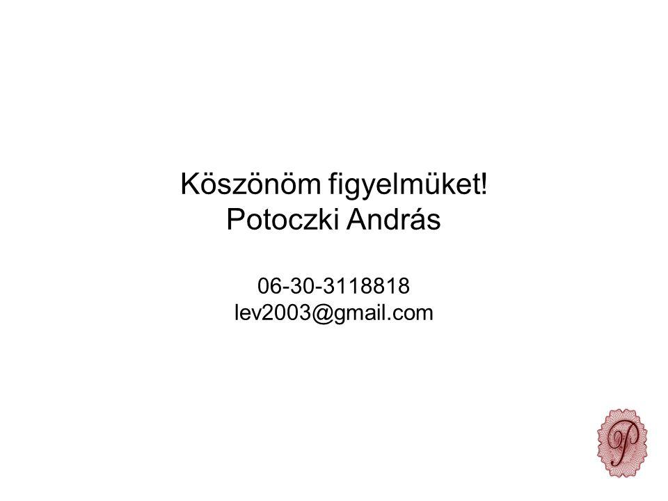 Köszönöm figyelmüket! Potoczki András 06-30-3118818 lev2003@gmail.com