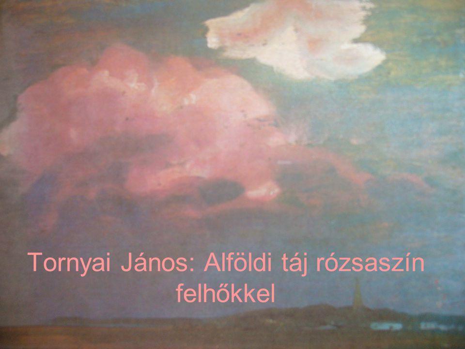 Tornyai János: Alföldi táj rózsaszín felhőkkel