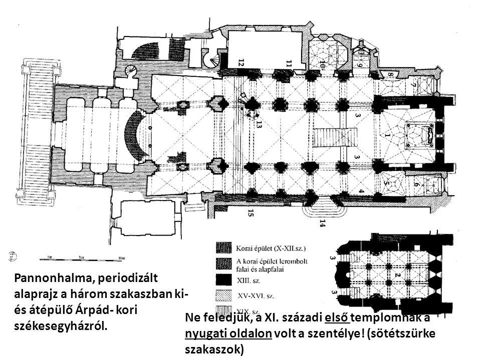 Pannonhalma, periodizált alaprajz a három szakaszban ki- és átépülő Árpád- kori székesegyházról. Ne feledjük, a XI. századi első templomnak a nyugati