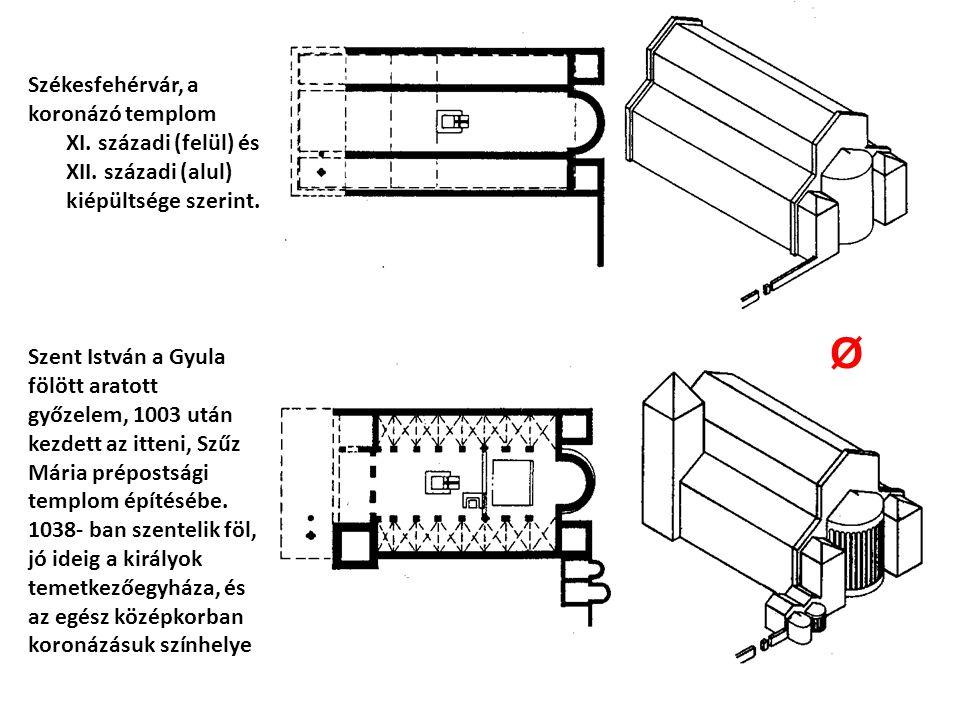 Székesfehérvár, a koronázó templom XI. századi (felül) és XII. századi (alul) kiépültsége szerint. Szent István a Gyula fölött aratott győzelem, 1003
