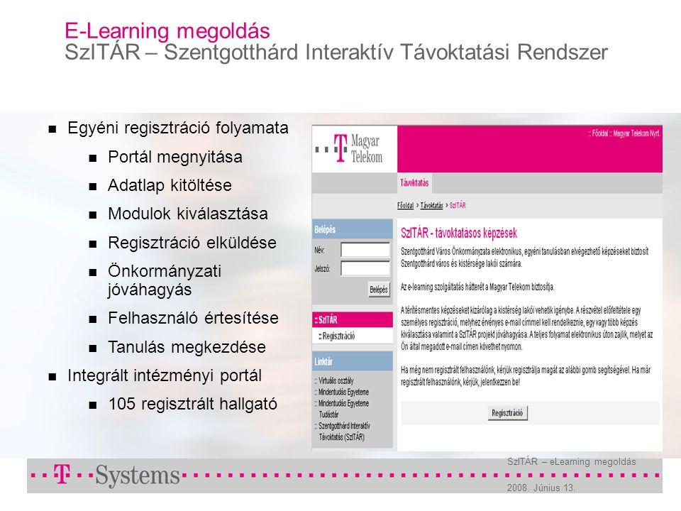 2008. Június 13. SzITÁR – eLearning megoldás E-Learning megoldás SzITÁR – Szentgotthárd Interaktív Távoktatási Rendszer Egyéni regisztráció folyamata