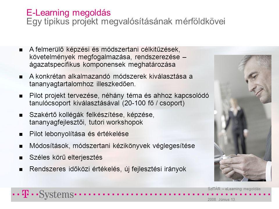 2008. Június 13. SzITÁR – eLearning megoldás E-Learning megoldás Egy tipikus projekt megvalósításának mérföldkövei A felmerülő képzési és módszertani
