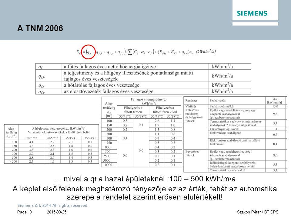 Siemens Zrt. 2014 All rights reserved. Page 10 2015-03-25Szakos Péter / BT CPS A TNM 2006 … mivel a q f a hazai épületeknél :100 – 500 kWh/m 2 a A kép