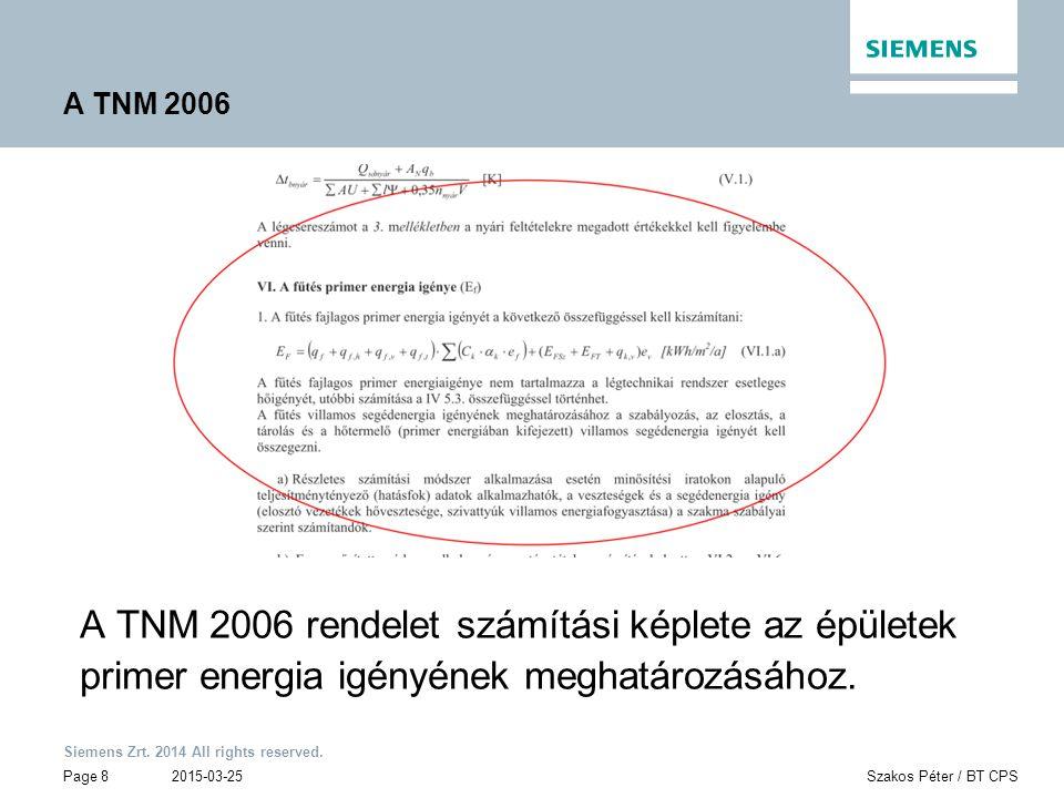 Siemens Zrt. 2014 All rights reserved. Page 8 2015-03-25Szakos Péter / BT CPS A TNM 2006 A TNM 2006 rendelet számítási képlete az épületek primer ener