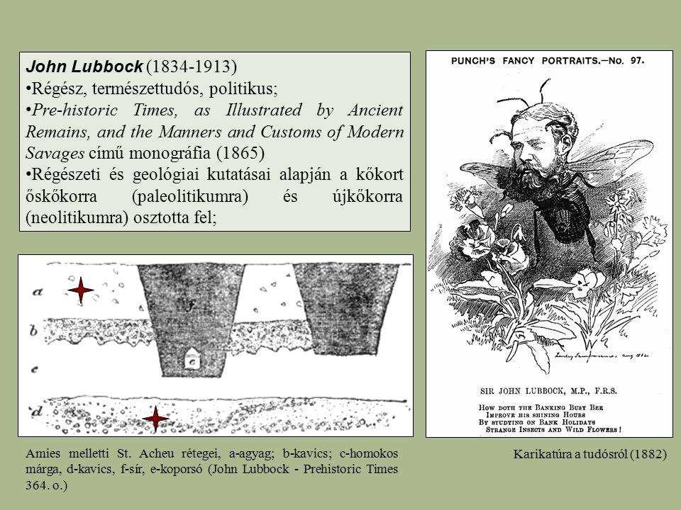 Amies melletti St. Acheu rétegei, a-agyag; b-kavics; c-homokos márga, d-kavics, f-sír, e-koporsó (John Lubbock - Prehistoric Times 364. o.) John Lubbo