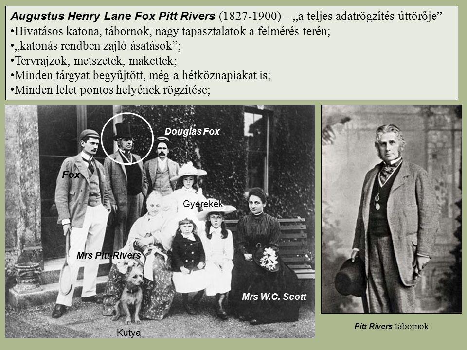 """Augustus Henry Lane Fox Pitt Rivers (1827-1900) – """"a teljes adatrögzítés úttörője"""" Hivatásos katona, tábornok, nagy tapasztalatok a felmérés terén; """"k"""