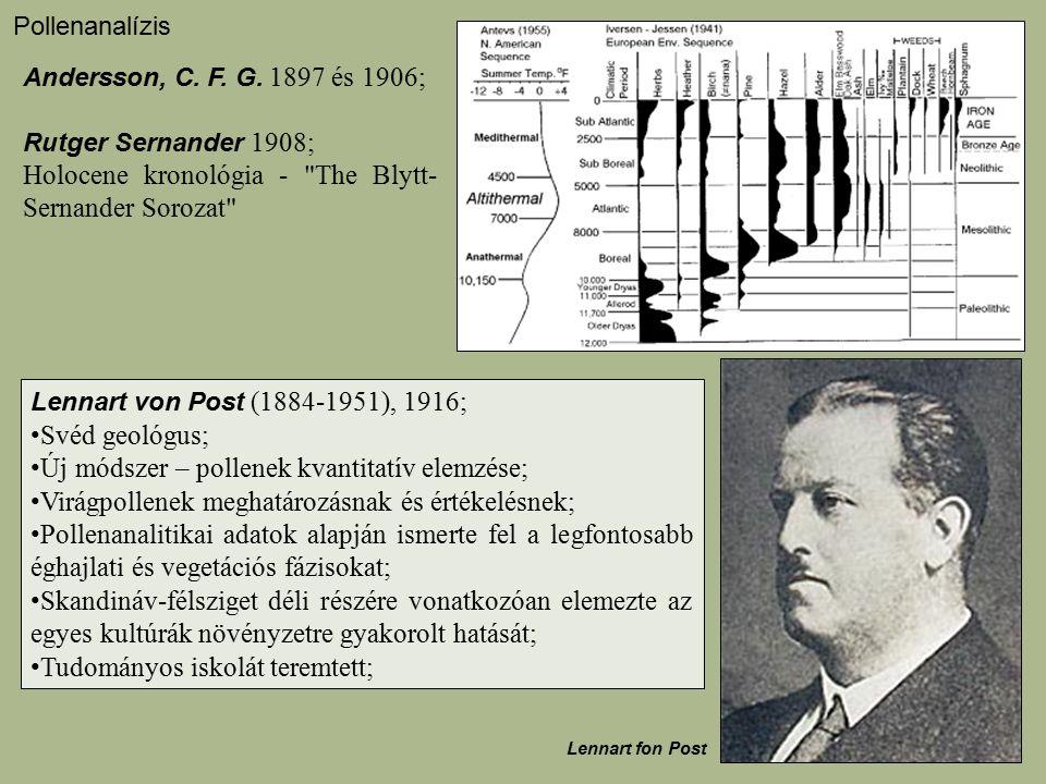 Andersson, C. F. G. 1897 és 1906; Rutger Sernander 1908; Holocene kronológia -