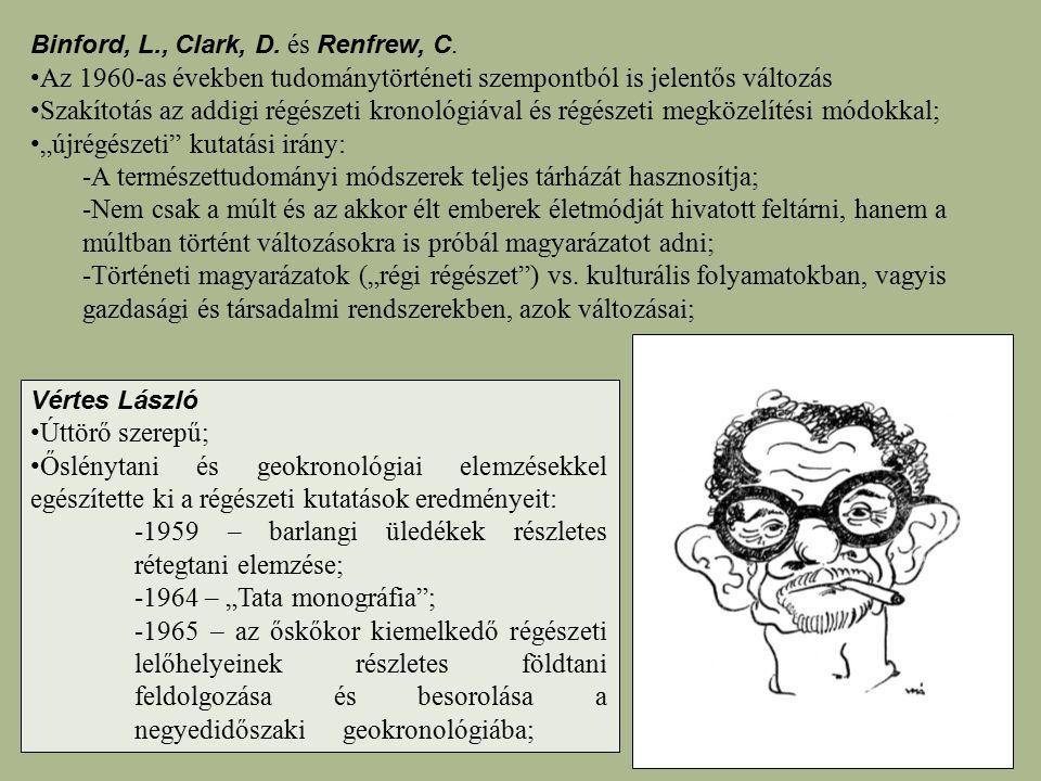 Binford, L., Clark, D. és Renfrew, C. Az 1960-as években tudománytörténeti szempontból is jelentős változás Szakítotás az addigi régészeti kronológiáv